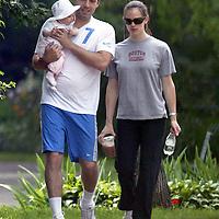 Ben Affleck, Jennifer Garner hold infant Violet in Cambridge,MA