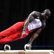 Donnell Whittenburg, Colorado Springs, Colorado, in action on the Pommel horse during the Senior Men Competition at The 2013 P&G Gymnastics Championships, USA Gymnastics' National Championships at the XL, Centre, Hartford, Connecticut, USA. 16th August 2013. Photo Tim Clayton