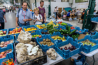 Vegetable stall, St George's Market, Belfast, N Ireland, UK, August, 2019, 201908241299<br />