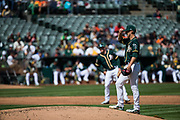 San Francisco Giants right fielder Gregor Blanco (1) runs to first base against the Oakland Athletics at Oakland Coliseum in Oakland, California, on March 25, 2018. (Stan Olszewski/Special to S.F. Examiner)
