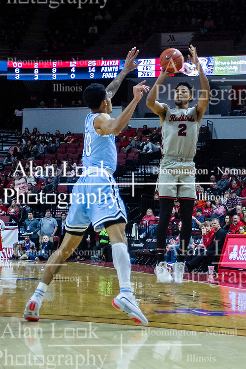 NORMAL, IL - February 08: Zach Copeland shoots for 3 points up and over Christian Williams during a college basketball game between the ISU Redbirds and the Indiana State Sycamores on February 08 2020 at Redbird Arena in Normal, IL. (Photo by Alan Look)