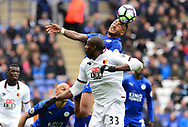 Danny Simpson of Leicester city wins a header over Stefano Okaka of Watford. Premier league match, Leicester City v Watford at the King Power Stadium in Leicester, Leicestershire on Saturday 6th May 2017.<br /> pic by Bradley Collyer, Andrew Orchard sports photography.