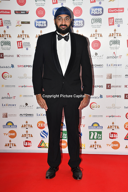 Monty Panesar attend Asian Restaurant & Takeaway Awards   ARTA 2018 at InterContinental London - The O2, London, UK. 30 September 2018.