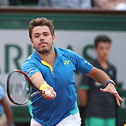 2017 French Open Tennis Tournament - Day Thirteen.  Stan Wawrinka of Switzerland in action against Andy Murray of Great Britain in the Men's Singles Semi Final match on Philippe-Chatrier Court at the 2017 French Open Tennis Tournament at Roland Garros on June 9th, 2017 in Paris, France.  (Photo by Tim Clayton/Corbis via Getty Images)