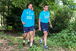 (L-R) head of the youth department Ernest Faber of PSV, coordinator fyssic training PSV Luc van Agt during a trainings session of PSV Eindhoven at the Herdgang on June 27, 2018 in Eindhoven, The Netherlands