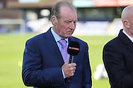 Former Wimbledon boss Dave Bassett doing pre match analysis with Sky Sports. Skybet football league two play off semi final, 1st leg match, AFC Wimbledon v Accrington Stanley at the Cherry Red Records Stadium in Kingston upon Thames, Surrey on Saturday 14th May 2016.<br /> pic by John Patrick Fletcher, Andrew Orchard sports photography.
