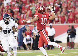 September 16, 2017 - Houston, TX, USA - Houston Cougars quarterback Kyle Allen (10) passes the ball during the first quarter of the college football game between the Houston Cougars and the Rice Owls at TDECU Stadium in Houston, Texas. All Cougars players wore ''Houston'' nameplates in remembrance of the loss and devastation of Hurricane Harvey. (Credit Image: © Scott W. Coleman via ZUMA Wire)