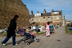 Eastern European immigrants living in temporary accommodation in a rundown part of Bradford; Yorkshire UK