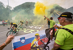 Supporters Primoz Roglic of Team Lotto NL Jumbo in Strahovlje village during 3rd Stage of 25th Tour de Slovenie 2018 cycling race between Slovenske Konjice and Celje (175,7 km), on June 15, 2018 in  Slovenia. Photo by Vid Ponikvar / Sportida