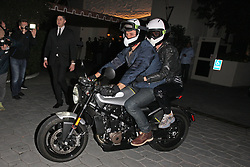 Katy Perry and Orlando Bloom are spotted leaving the Sunset Tower Hotel after attending Jennifer Aniston's 50th birthday party in West Hollywood. Orlando is seen leaving the party with Katy Perry on Orlando's motorcycle. 10 Feb 2019 Pictured: Katy Perry and Orlando Bloom. Photo credit: MEGA TheMegaAgency.com +1 888 505 6342