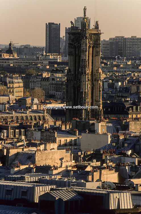 France. Paris. elevated view. paris cityscape  view from Saint Eustache church bell tower