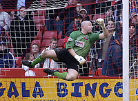 Photo. Glyn Thomas.<br /> Sheffield United v Colchester. FA Cup fifth round.<br /> Bramall Lane, Sheffield. 15/02/2004.<br /> Sheffield's keeper Paddy Kenny makes an acrobatic late save to deny Colchester an equaliser.