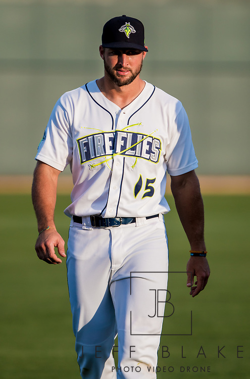 Columbia Fireflies left fielder Tim Tebow during a game at Spirit Communications Park on April 22, 2017. Photo by Jeff Blake/Jeff Blake Photography