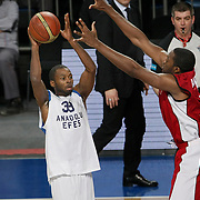 Anadolu Efes's Oliver Lafayette (C) during their Turkish Basketball League match Anadolu Efes between Erdemir at Arena in Istanbul, Turkey, Wednesday, January 28, 2012. Photo by TURKPIX