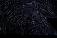 Startrail Looking North. Composite of images (01:20-02:19) taken with a Nikon D850 camera and 19 mm f/4 PC-E lens (ISO 200, 19 mm, f/4, 30 sec). Raw images processed with Capture One Pro and the composite created using Photoshop CC (scripts, statistics, maximum).