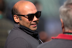Oct 7, 2021; San Francisco, CA, USA; San Francisco Giants President of Baseball Operations Farhan Zaidi talks with a reporter during NLDS workouts. Mandatory Credit: D. Ross Cameron-USA TODAY Sports