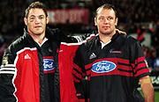Mark Hammett and Greg Feek, Super 12 rugby union Semi Final, Crusaders v Highlanders. Jade Stadium, Christchurch. 20 May 2000. © Copyright Photo: Sandra Teddy / www.photosport.nz