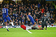 Defender Eric Bailly of Manchester United and Goalkeeper David De Gea compete for the ball with Defender Cesar Azpilicueta of Chelsea during the English Premier League match between Chelsea and Manchester United, Monday, Feb. 17, 2020, at Stamford Bridge, in London, United Kingdom. Manchester United defeated Chelsea 2-0.  (Mitchell Gunn/Image of Sport)
