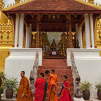 Monks leaving the large golden Buddhist stuppa, Pha That Luang.