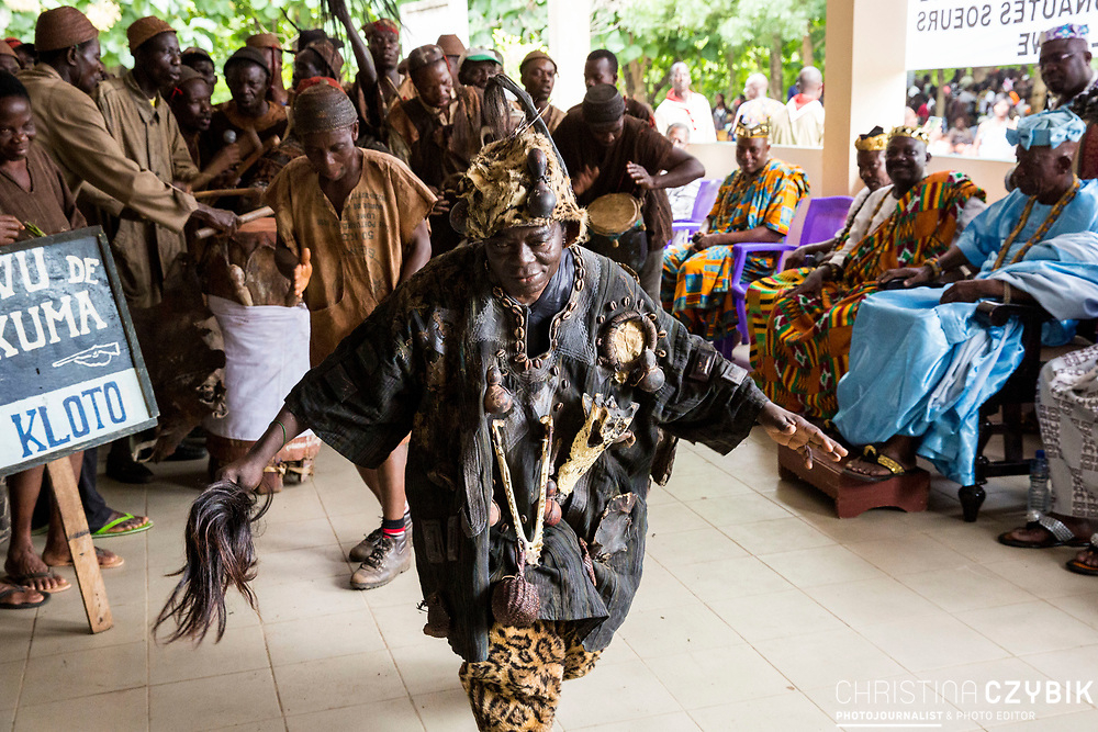 King Cephas Bansah dances with the Voodoo people of Adevu Kuma Kloto in Notse<br /> <br /> Day 1 of the Agbogboza Festival in Notse, Togo on September 1st, 2016<br /> <br /> ***Togbe Ngoryifia Cephas Kosi Bansah of Gbi Traditional Area Hohoe Ghana and Traditional, Spiritual and Honorable King of the Ewes and his wife, Queen Mother Gabriele Akosua Bansah Ahado Hohoe Ghana***