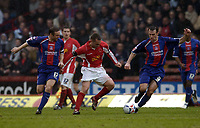 Photo: Olly Greenwood.<br />Crystal Palace v Crewe Alexander. Coca Cola Championship. 15/04/2006. Crewes Billy Jones is surrounded  by Palaces Michael Hughes and Dougie Freedman