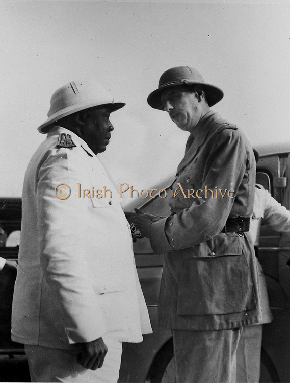 World War II: Charles de Gaulle, chief of the Free French, is welcomed to Chad by Governor-General Eboue of Free French Africa. Eboue, a native of French Guinea, was the first Negro colonial governor in Africa.