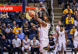 Dec 14, 2019; Morgantown, WV, USA; West Virginia Mountaineers forward Derek Culver (1) dunks the ball during the second half against the Nicholls State Colonels at WVU Coliseum. Mandatory Credit: Ben Queen-USA TODAY Sports