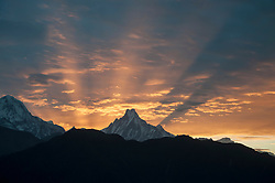 View of Machapuchare mountain at sunrise
