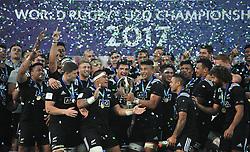 TBILISI, June 18, 2017 New Zealand's team celebrate the title after the final match of the World Rugby U20 Championship between England and  New Zealand in Tbilisi, Georgia, June 18, 2017. (Credit Image: © Kulumbegashvili Tamuna/Xinhua via ZUMA Wire)