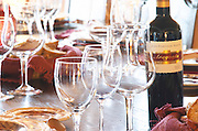 Wine tasting. Wine glasses. Lunch table. J Portugal Ramos Vinhos, Estremoz, Alentejo, Portugal