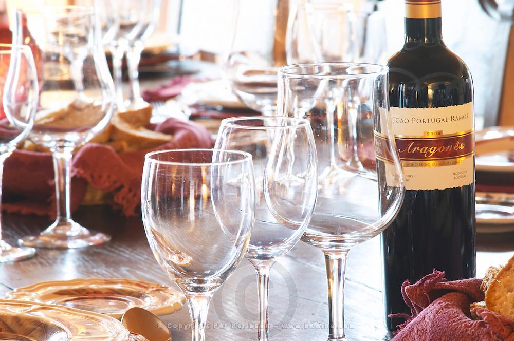 Wine tasting. Wine glasses. Lunch table. J Portugal Ramos Vinhos, Estremoz, Alentejo, Portugal