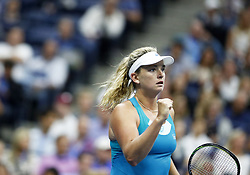 NEW YORK, Sept. 7, 2017  CoCo Vandeweghe of the United States celebrates during the women's singles quarterfinal match against Karolina Pliskova of Czech Republic at the 2017 U.S. Open in New York, the United States, Sept. 6, 2017. CoCo Vandeweghe won 2-0 to enter semifinal. (Credit Image: © Qin Lang/Xinhua via ZUMA Wire)