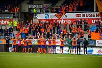 1. divisjon fotball 2018: Aalesund - Mjøndalen. Spillerne og supporterne jubler etter førstedivisjonskampen i fotball mellom Aalesund og Mjøndalen på Color Line Stadion.