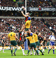 Tom Croft of England takes a lineout from Nathan Sharpe (5) of Australia during the Investec series international between England and Australia at Twickenham, London, on Saturday 13th November 2010. (Photo by Andrew Tobin/SLIK images)