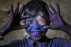 March 23, 2019 - Sylhet, Bangladesh - Bangladeshi Tea garden children posing with smile after adorning with colors on the 2nd day of celebration the annual hindu festival of colours, known as Holi festival marking the onset of spring in Sylhet, Bangladesh. (Credit Image: © Md Rafayat Haque Khan/ZUMA Wire)