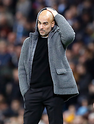 Manchester City manager Pep Guardiola gestures on the touchline during the UEFA Champions League match at the Etihad Stadium, Manchester.
