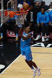 March 10, 2018 - Los Angeles, CA, U.S. - LOS ANGELES, CA - MARCH 10: LA Clippers guard Lou Williams (23) goes to the rim for a layup during the game between the Orlando Magic and the LA Clippers on March 10, 2018, at STAPLES Center in Los Angeles, CA. (Photo by David Dennis/Icon Sportswire) (Credit Image: © David Dennis/Icon SMI via ZUMA Press)