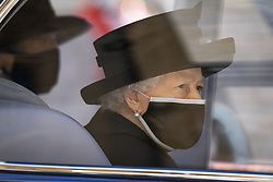 Queen Elizabeth II arriving at St George's Chapel, Windsor Castle, Berkshire, during the funeral of the Duke of Edinburgh. Picture date: Saturday April 17, 2021.