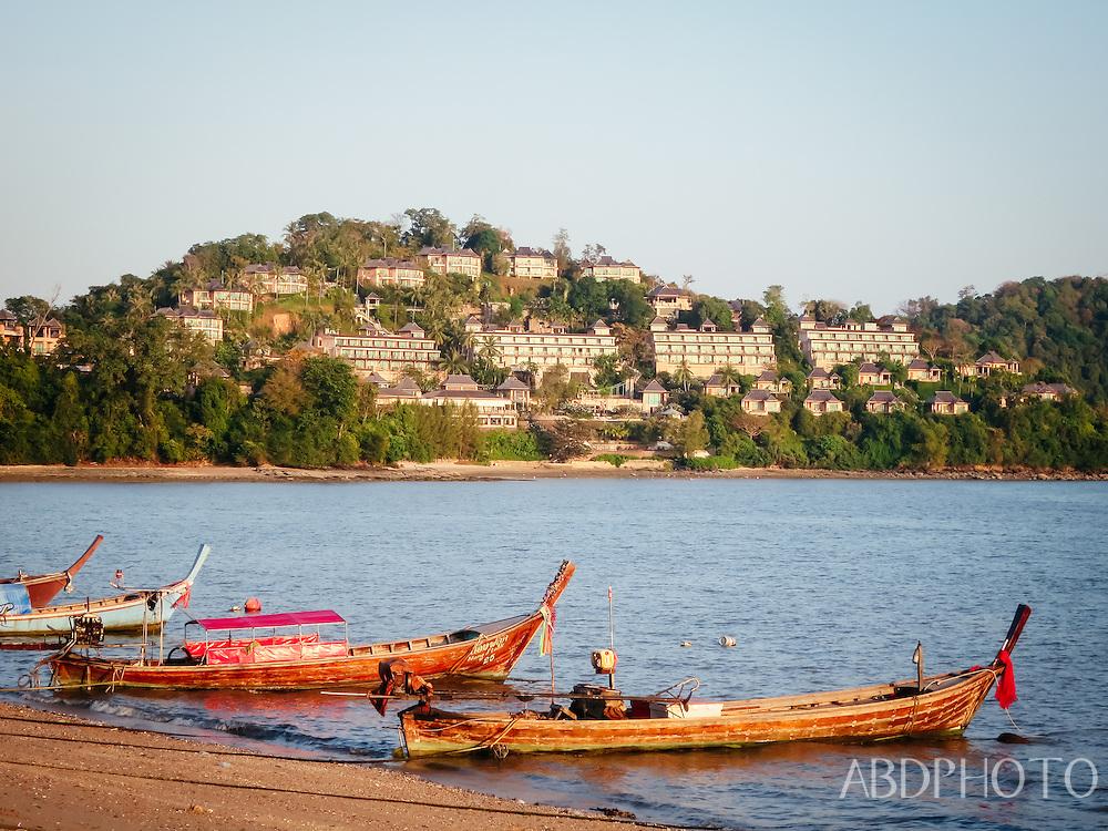 boats in siray bay phuket thailand