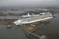 New cruise ship Celebrity Eclipse squeezes backwards along the River Ems on its first ever journey- a 42km trip leaving the inland ship yard in Papenburg, Germany before heading to the sea...Celebrity Eclipse will arrive in Southampton in late April 2010 to be named ahead of being based from the city for the summer.