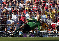 Photo: Olly Greenwood.<br />Arsenal v Manchester City. The FA Barclays Premiership. 25/08/2007. Mancherster City's Casper Schmichel saves a penalty from Robin Van Persie