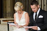 bride and groom reading love letters by Tallmadge wedding photographer, Akron wedding photographer Mara Robinson Photography