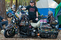 Dave Sutherland of Orlando, FL in his campground by the Cabbage Patch during Daytona Bike Week. FL, USA. March 12, 2014.  Photography ©2014 Michael Lichter.