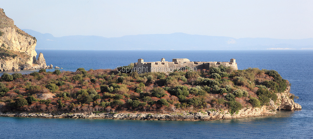 Kalaja e Porto Palermos (Porto Palermo Castle or Panormos Castle), on its rocky peninsula in the Porto Palermo Bay near Himare in the Albanian Riviera in Southern Albania. The castle was built in triangular plan by the Venetians and was ruled by Ali Pasha before he bequested it to the Royal Navy in 1803. Picture by Manuel Cohen