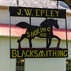 Lancaster, PA – July 12, 2016: The J.W. Epley Shoeing and Blacksmithing sign at the Landis Valley Village & Farm Museum in Lancaster County.