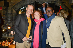 Left to right, TOM DIXON, CAMILLA LOWTHER and CHARLES ABOAH at Fork to Fork - a Fundraising Feast to support The Open Air Classroom Project held at The Dock Kitchen, Portobello Docks, 342-344 Ladbroke Grove, London on 19th May 2015.