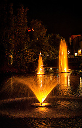 Fountains during the evening at Downtown Disney in Orlando, Florida.