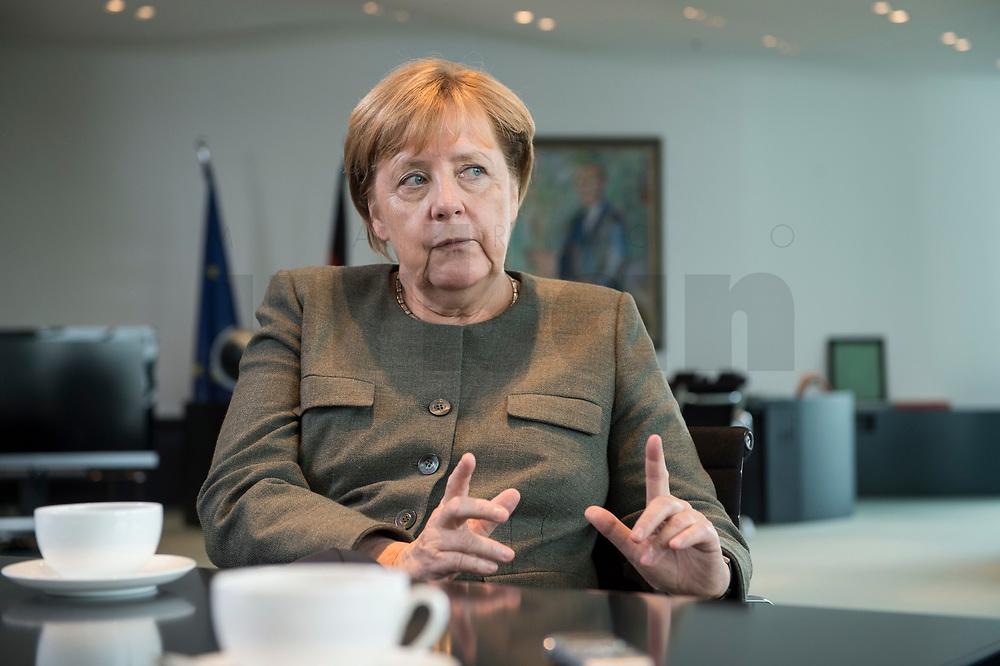 13 SEP 2017, BERLIN/GERMANY:<br /> Angela Merkel, CDU, Bundeskanzlerin, waehrend einem Interview, in Ihrem Buero, Bundeskanzlerin<br /> IMAGE: 20170917-01-003<br /> KEYWORDS: Büro