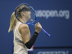 August 30, 2017 - Flushing Meadows, New York, U.S - Maria Sharapova celebrates her win on Day Three of the 2017 US Open with Timea Babos at the USTA Billie Jean King National Tennis Center on Wednesday August 30, 2017 in the Flushing neighborhood of the Queens borough of New York City. Sharapova defeated Babos, 6-7(7-4), 6-4, 6-1. (Credit Image: © Prensa Internacional via ZUMA Wire)