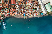 Aerial view of Cebu city residential district and harbour, Philippines.